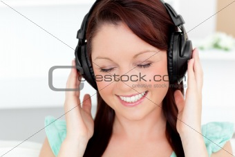 Animated young woman listen to music with headphones