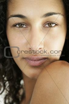 Close up portrait of nude female