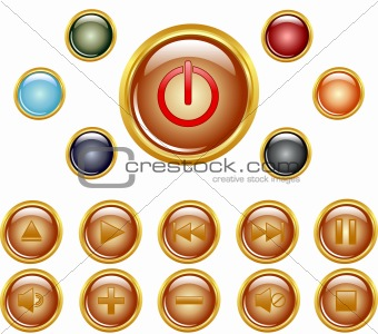 set of a gold media buttons.