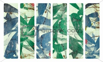 Art print on plaster and coconut paper banner set