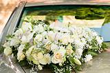 Big flower bouquet on bonnet