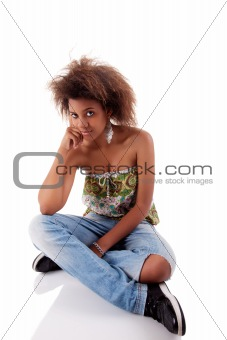beautiful black  woman, sitting on the floor