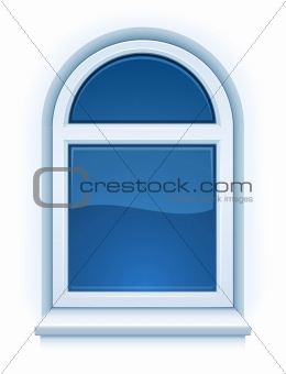 arched closed plastic window with windowsill