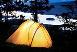 Tent lit up at dusk