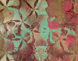 Grunge aqua and pink flower print on stone 