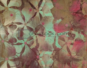 Grunge aqua and pink flower print on stone