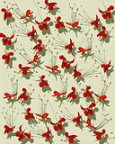 Red butterfly flower print on ribbed handmade paper