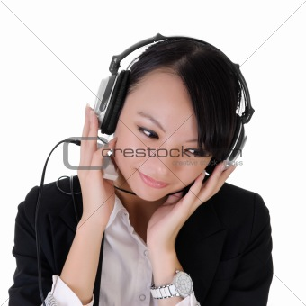 business lady listen music