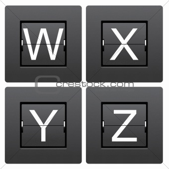 Letter series W to Z from mechanical scoreboard
