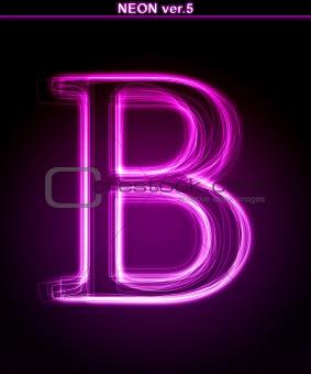 Glowing font. Shiny letter B