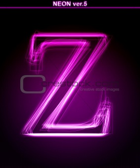Glowing font. Shiny letter Z.