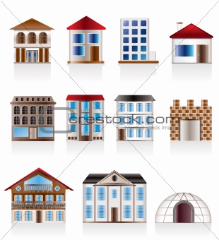 Various variants of houses and buildings