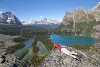 female hiker at lake ohara