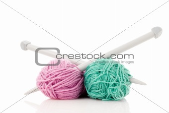 Green and pink  knitting wool
