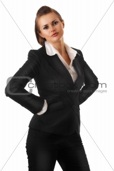 angry modern business woman with hands on hips