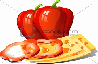 Red pepper and slices of cheese