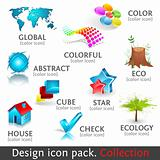 Design 3d color icon set. Collection