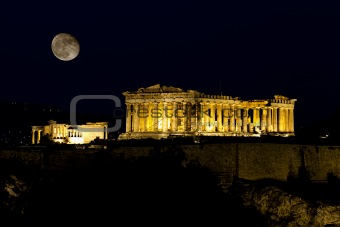 Acropolis Parthenon at Night, Athens , Greece