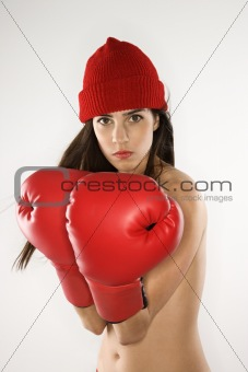 Woman with boxing gloves.