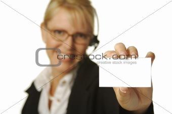 Beautiful Receptionist & Blank Card