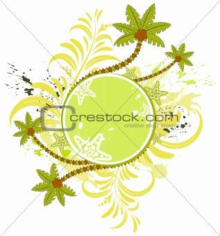 Grunge flower summer frame