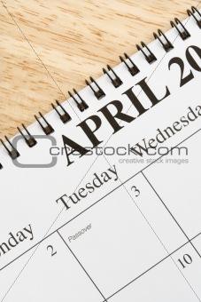 April on calendar.