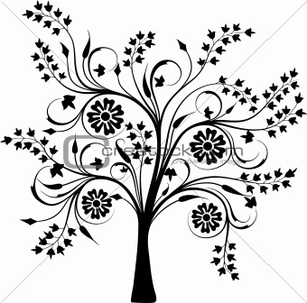 Blossoming tree, vector