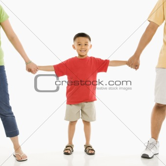 Boy with parents.