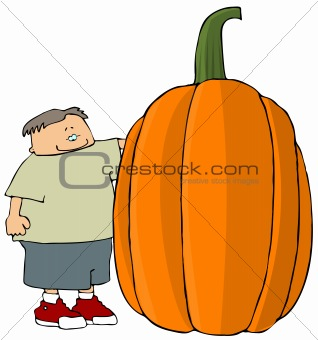 Boy With A Giant Pumpkin