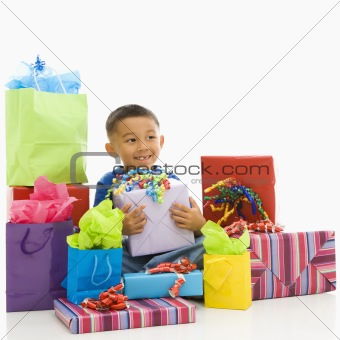 Boy with presents.