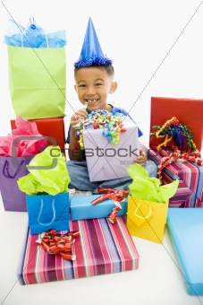 Boy with gifts.