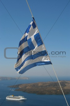 Greek flag and the sea, Santorini