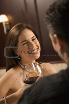 Couple drinking wine.