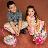 Kids with Easter baskets.