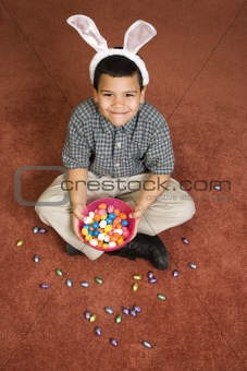 Boy celebrating Easter.