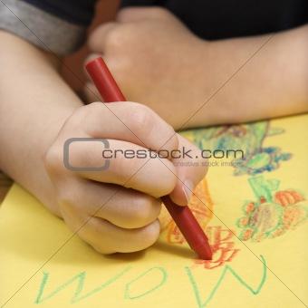Boy drawing.