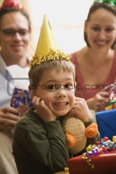 Boy at birthday party.