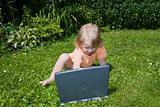 Girl study on computer