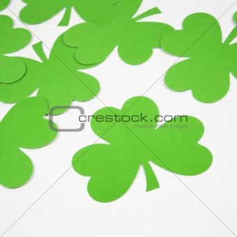 Green paper shamrocks.