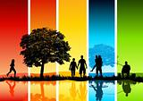 Colourful Family Scene