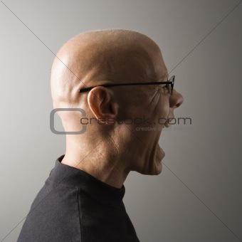 Screaming man profile