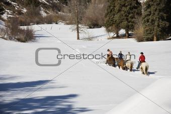Group horseback riding.