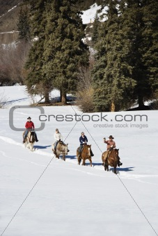Group horseback riding.
