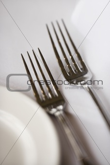 Forks and plate.