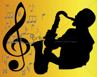 black silhouette of a saxophone player