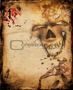 Grunge background with insects and skull