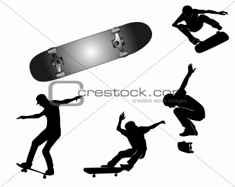Group playing skateboards