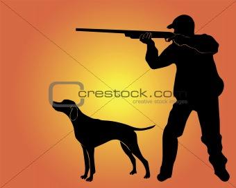 Black silhouette of the hunter