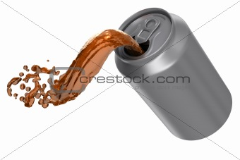 Can pouring brown soda