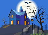 Halloween pumpkin and house. Vector. EPS8.